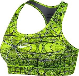 Nike Women's Dri-Fit Pro Printed Training Sports Bra-Volt/Black-Small