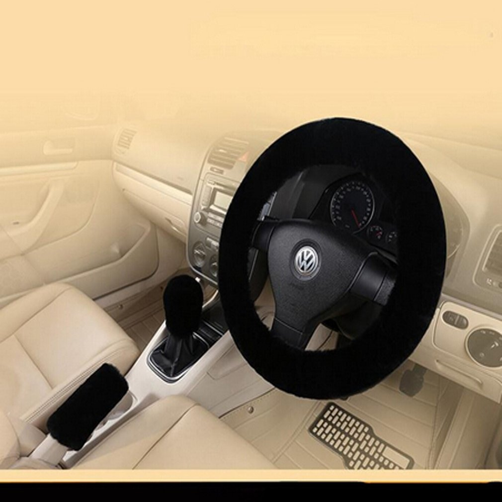 light yellow VWH 3Pcs Winter Warm Plush Handbrake Cover Gear Shift Cover Steering Wheel Cover Car Accessory