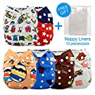 LBB(TM) Baby Resuable Washable Cloth Pocket Diaper,New Print Design for Thanksgiving Day,6 Pieces Pack