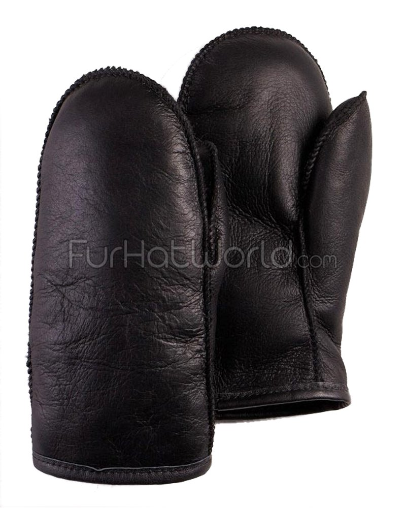 Mens Alaska Napa Leather Shearling Sheepskin Mittens in Black (M) Frr LS-M1012NAPA-BLACK-M