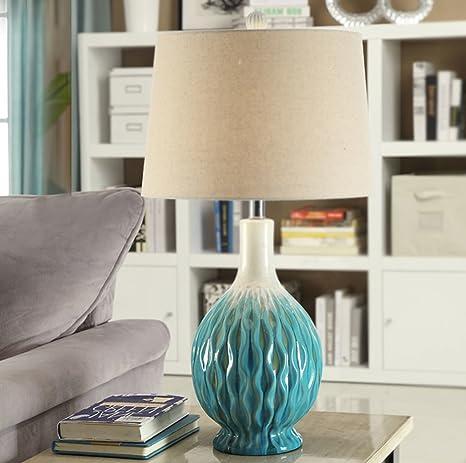 Lámpara de mesa de cerámica europea creativa de la sala de ...
