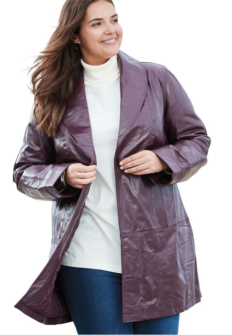 Woman Within Women's Plus Size Coat, Swing Style In Leather Midnight Berry,22 W by Woman Within