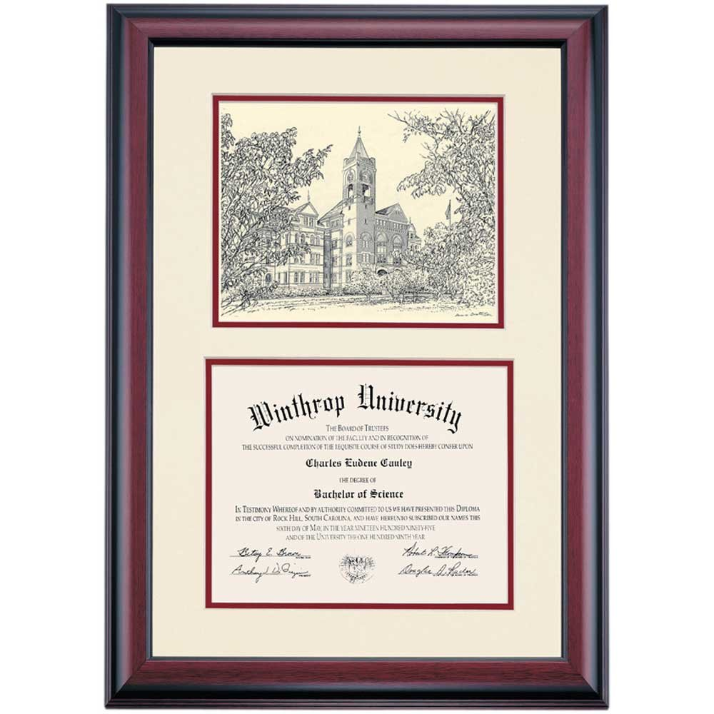 Campus Linens Winthrop Eagles Diploma Frame Ivory Garnet Matting Pen & Ink