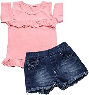 Summer Baby Girls Short Sleeve T-shirt Tops Denim Shorts Casual Outfits Sets