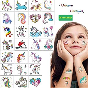 25 Pcs Unicorn Temporary Tattoos, Waterproof Rainbow Cartoon Colorful Stickers Fake Tattoo for Kids Children Girls Boys Birthday Party, Party Decoration Supplies Favors, Summer Vacation Fun, Gift