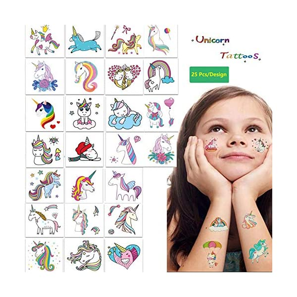 25 Pcs Unicorn Temporary Tattoos, Waterproof Rainbow Cartoon Colorful Stickers Fake Tattoo for Kids Children Girls Boys Birthday Party, Party Decoration Supplies Favors, Summer Vacation Fun, Gift 3