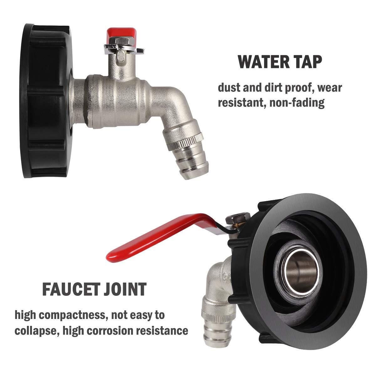 Schwarz OUNONA IBC Tank Adapter Wasserhahn Wasserablauf Hahn Gewinde zu 15mm Wassertank Yard Gartenhahn Schlauchventil Adapter Fittings