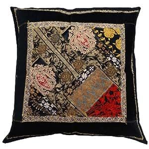 decoración del hogar arte de la cubierta del amortiguador del trabajo del remiendo bordado funda de almohada de regalo negro indio 18 x 18 pulgadas