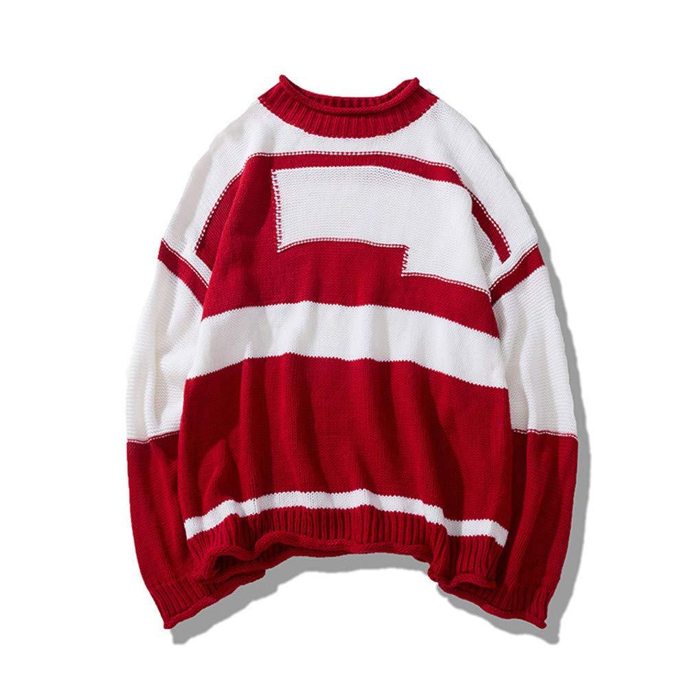 Usopu Mens Basis Color Block Crew Neck Long Sleeve Sweater