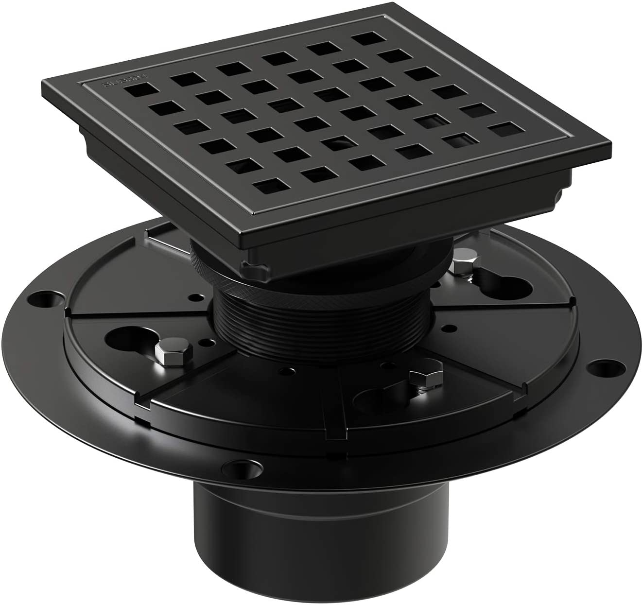 WEBANG 4 Inch Square Shower Floor Drain With Flange,Quadrato Pattern Grate Removable,Food-grade SUS 304 Stainless Steel,WATERMARK&CUPC Certified,Matte Black