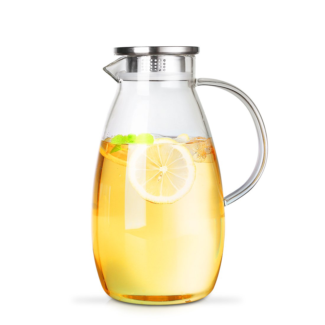 ONEISALL Glass Pitcher with Lid - Glass Water Carafe for Juice, Milk, Iced Tea - 2.6L by oneisall