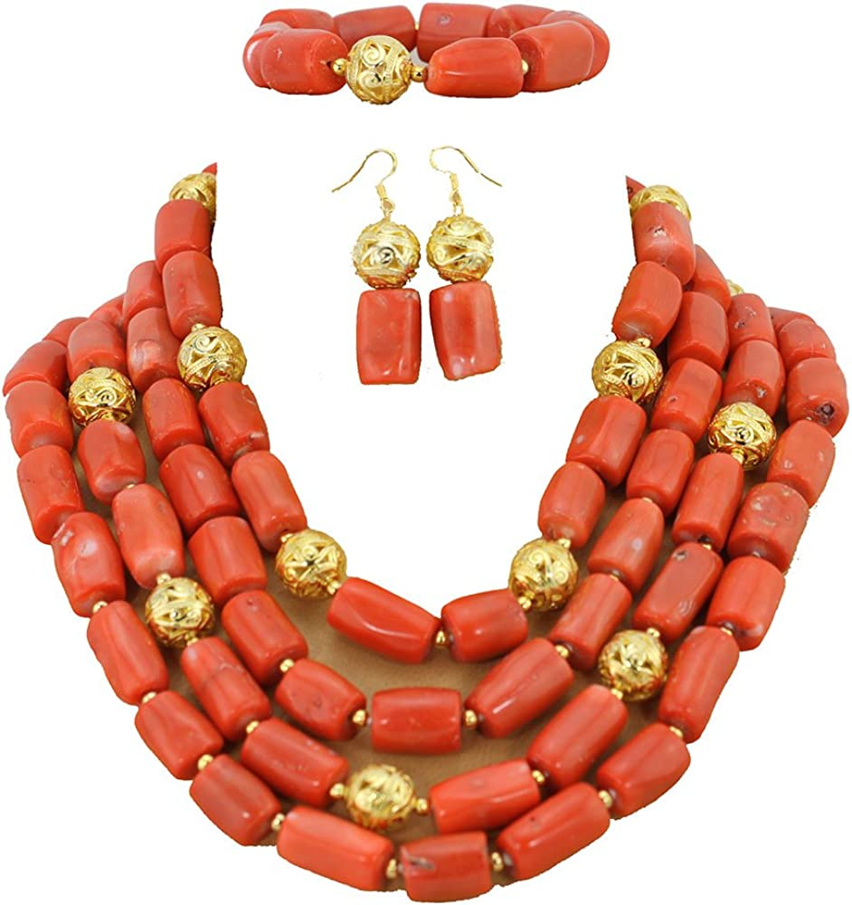 PinkOrange Coral Necklace And Earrings