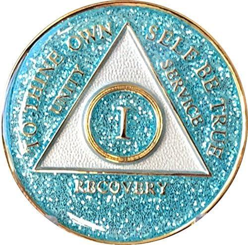 1年AA Medallion Aqua Blue Glitter tri-plateターコイズBling Blingチップ