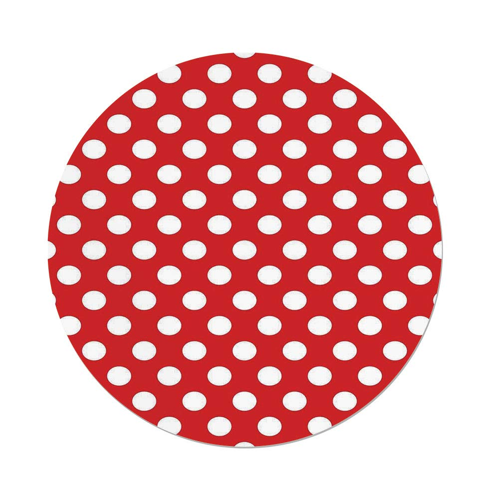 iPrint Polyester Round Tablecloth,Retro,50s 60s Iconic Pop Art Style Big White Polka Dots Picnic Vintage Old Theme Image,Red and White,Dining Room Kitchen Picnic Table Cloth Cover,for Outdoor Indoor