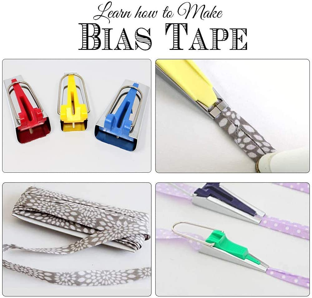 Single//Double Fold Bias Tape Maker Tool Kit Set 6MM//12MM//18MM//25MM Fabric Bias Tape Maker Tools 4 Sizes DIY Sewing Bias Tape Makers for Quilt Binding