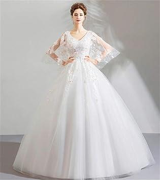 LYJFSZ-7 Style Princesse Fleur Manches Papillon Mariée Robe de mariée Slim  Dress Robe de soirée Blanche: Amazon.fr: Sports et Loisirs