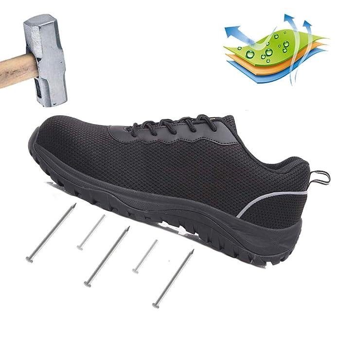 AFFINEST Zapatos de Seguridad Hombre Zapatillas de Trabajo S3 con Puntera de Acero Calzado Antideslizante Industriales Transpirables Zapatillas