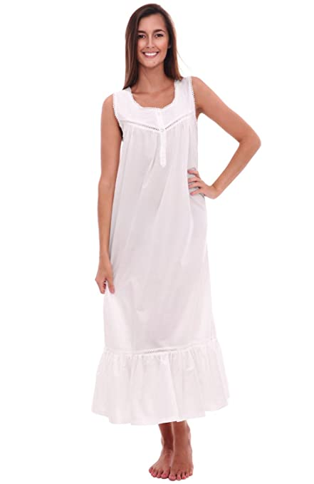 Victorian Nightgowns, Nightdress, Pajamas, Robes Alexander Del Rossa Womens Patricia Cotton Nightgown Long Victorian Sleeveless Sleepwear $34.99 AT vintagedancer.com