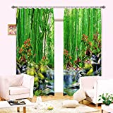 Newrara Green Bamboo Forest 3D Curtain 2 Panels For Living Room&Bedroom,Free Hook Included (104W95″L, Green) For Sale
