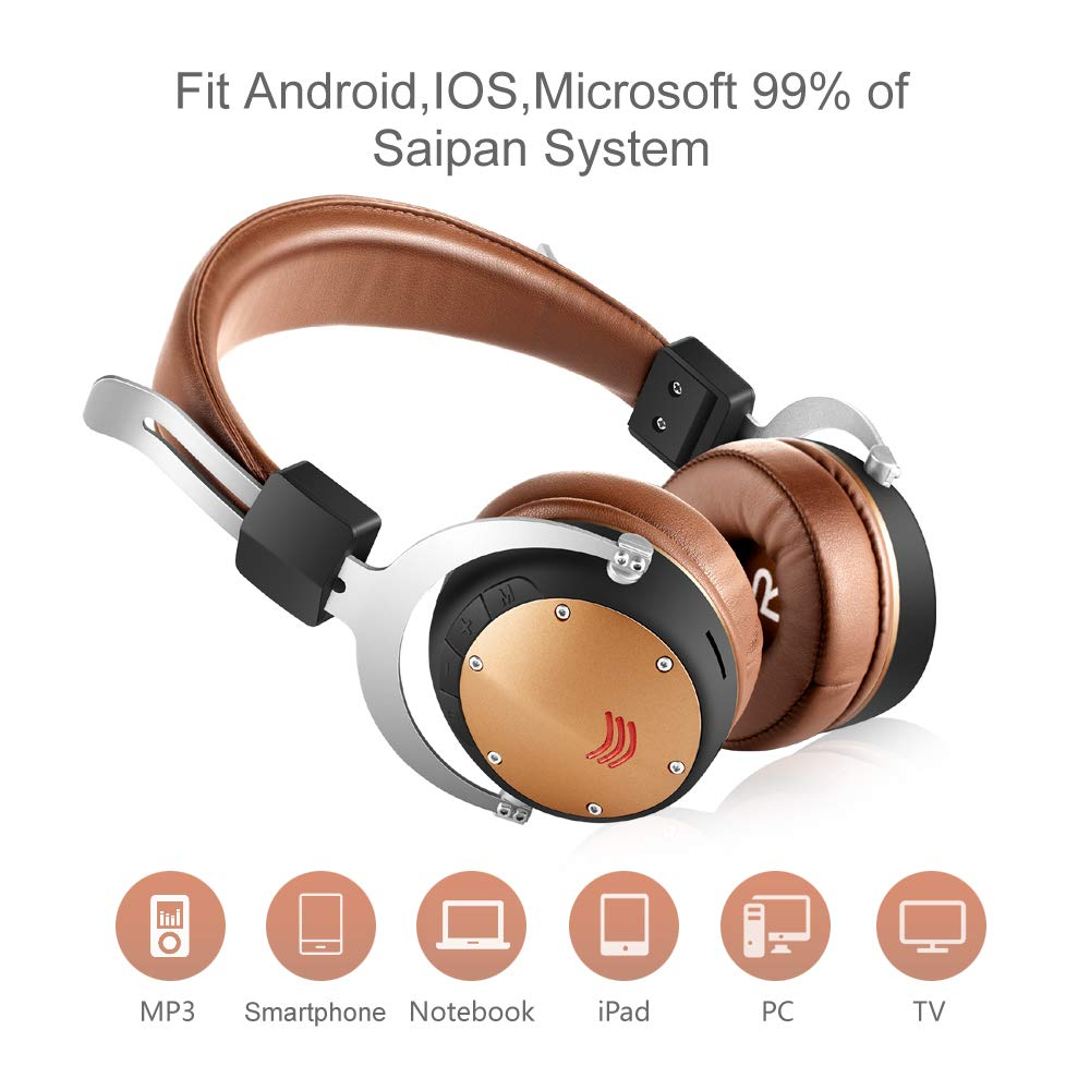 Fekgoo Bluetooth Headphones Over-Ear-Wireless Hi-Fi Stereo Headset with Mic 40mm Driver Foldable Headphones Support TF Card for Travel Sports Music Cell Phones PC Brown