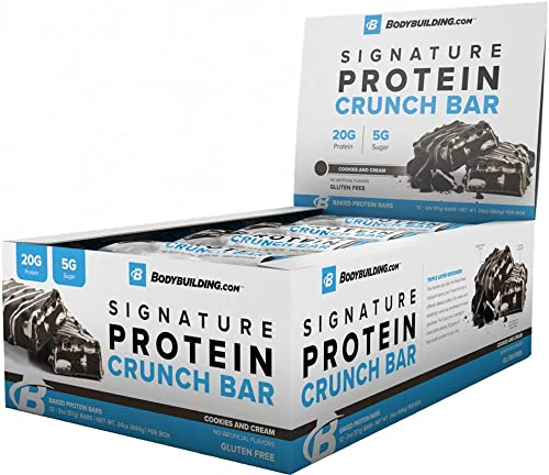 Bodybuilding Cookies and Cream Signature Protein Crunch Bar 20g Whey Protein Low Sugar Gluten Free No Artificial Flavors 12 Bars