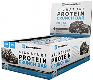 Bodybuilding Cookies and Cream Signature Protein Crunch Bar | 20g Whey Protein Low Sugar | Gluten Free No Artificial Flavors | 12 Bars
