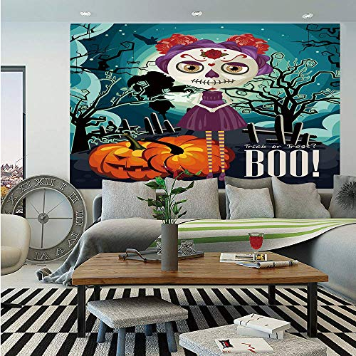Halloween Removable Wall Mural,Cartoon Girl with Sugar Skull Makeup Retro Seasonal Artwork Swirled Trees Boo Decorative,Self-Adhesive Large Wallpaper for Home Decor 66x96 inches,Multicolor]()