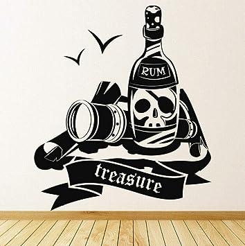 Pegatinas De Pared Pirate Treasure Etiqueta De La Pared Ron ...