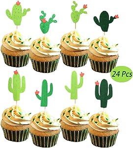 Yaaaaasss! Cactus Cupcake Toppers Fiesta West Cacti Llama Theme Birthday Party Supplies