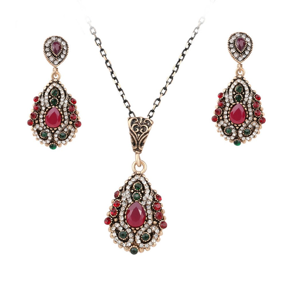 Turkey colorful crystal vintage Jewelry Set,Ethnic Style Necklace Earrings for Women and Girl
