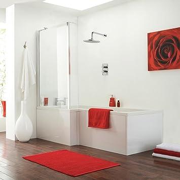 Hochwertig 1700 Mm Linke Hand L Shaped Dusche Badewanne + Glas Moderne Badezimmer Set