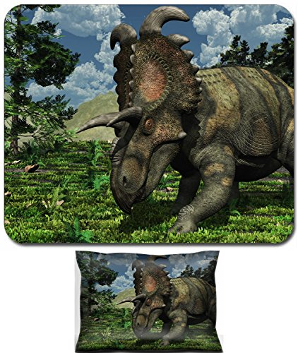 - Liili Mouse Wrist Rest and Small Mousepad Set, 2pc Wrist Support Prehistoric scene featuring an albertaceratops a dinosaur that lived during the Late Cretaceous period IMAGE ID 9536590