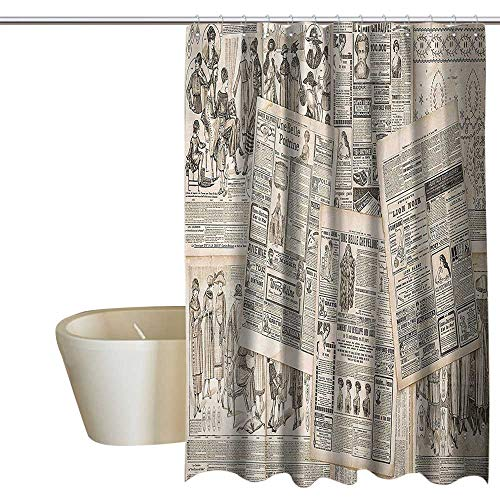 aper Decor Kids Bathroom Shower Curtain Nostalgic Aged Pages with Antique Advertising Fashion Magazines Print Travel Shower Curtain W108 x L72 Black Tan ()