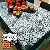 84 x 60''Halloween Spider Web Table Cloth Decorations - Kidaily Table Topper Black Lace Cobweb Table Runner for Halloween Party Supplies Kitchen Home Fireplace Windows Dinner Parties Table Cover