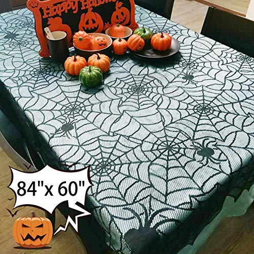 84 x 60''Halloween Spider Web Table Cloth Decorations - Kidaily Table Topper Black Lace Cobweb Table Runner for Halloween Party Supplies Kitchen Home Fireplace Windows Dinner Parties Table Cover by Kidaily