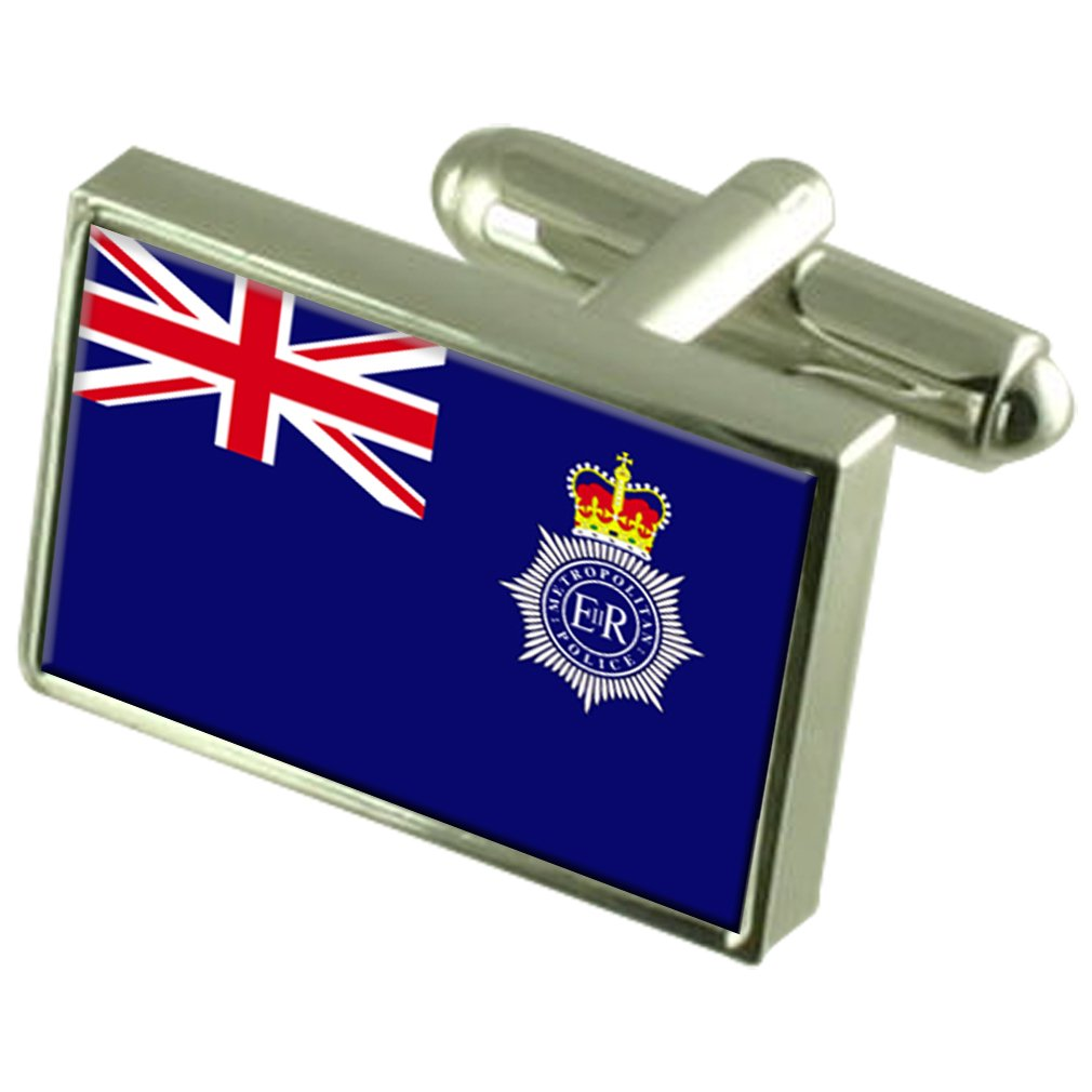 New York Sterling Silver Flag Cufflinks in Engraved Personalised Box