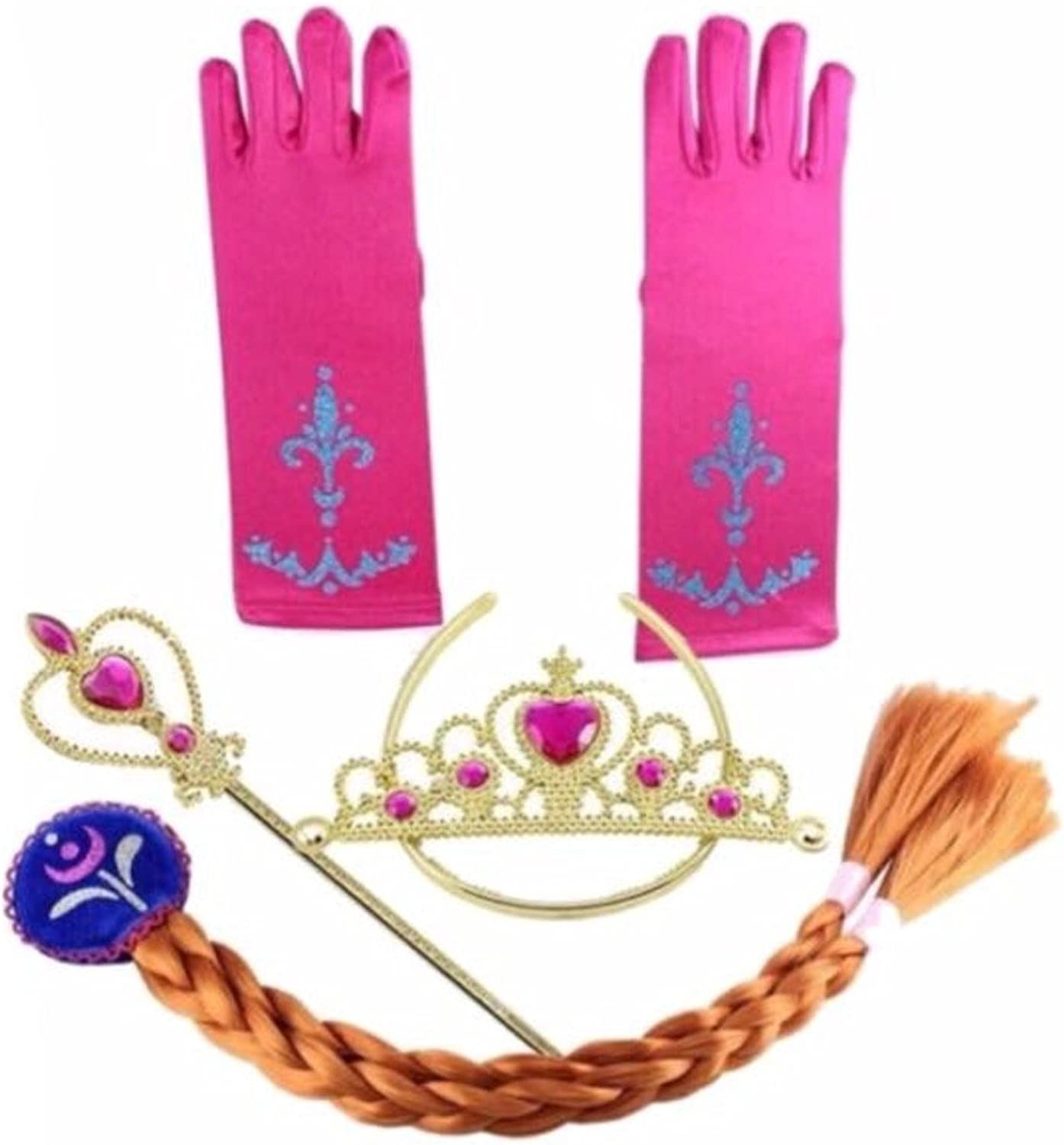 Frozen Inspired Tiara, Wand, Gloves and Braid Set