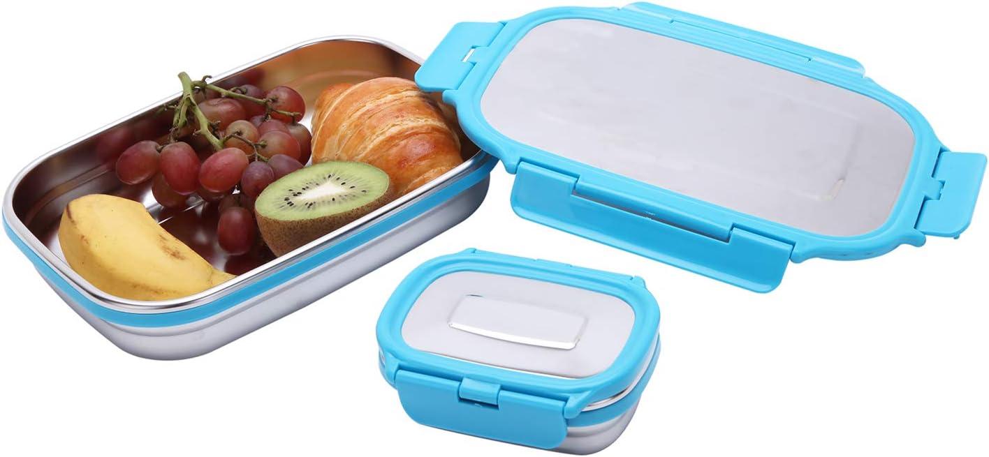 G.a HOMEFAVOR Caja de Almuerzo Fiambrera Acero Inoxidable Bento de Comida Contenedor de Alimentos para Niños o Adultos 2 Piezas, 180ml + 950ml, Azul: Amazon.es: Hogar