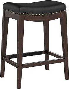 Stone & Beam Kari Nailhead Trim Saddle Kitchen Counter Height Backless Bar Stool, 25.9 Inch Height, Black Leather, Wood