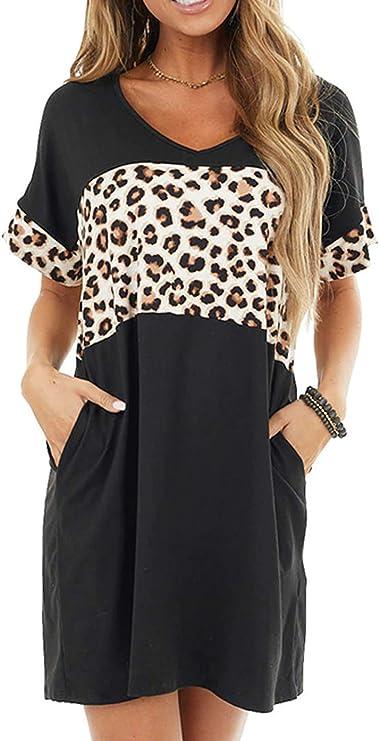 ReachMe Womens Casual V-Neck T-Shirt Dress Leopard Mini Dress Short Sleeve Swing Dress with Pockets