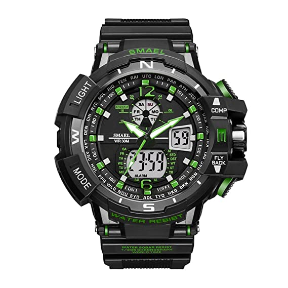 Elegante reloj deportivo resistente al agua reloj digital con alarma para hombres niños: Amazon.es: Relojes