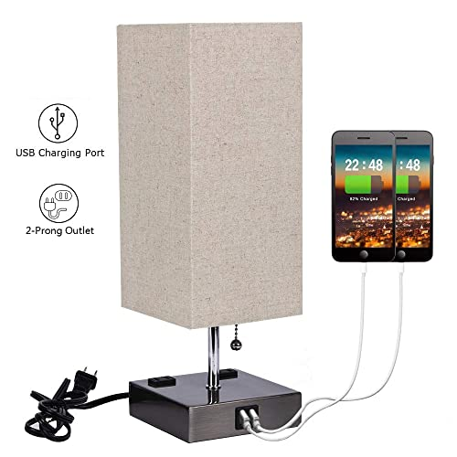 USB Bedside Table Lamp with 2 USB Charging Ports and 2 Outlets Power Strip,Black Sand Nickel Base with Flaxen Fabric Shade for Bedroom Nightstand Living Room
