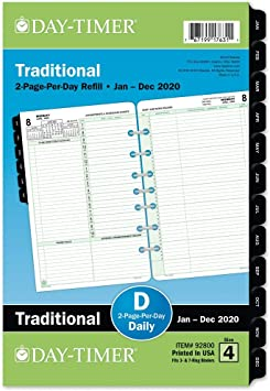 Two Pages Per Week Loose Leaf Standard Day-Timer 2020 Weekly Planner Refill 8-1//2 x 11 10431 Folio Size 5