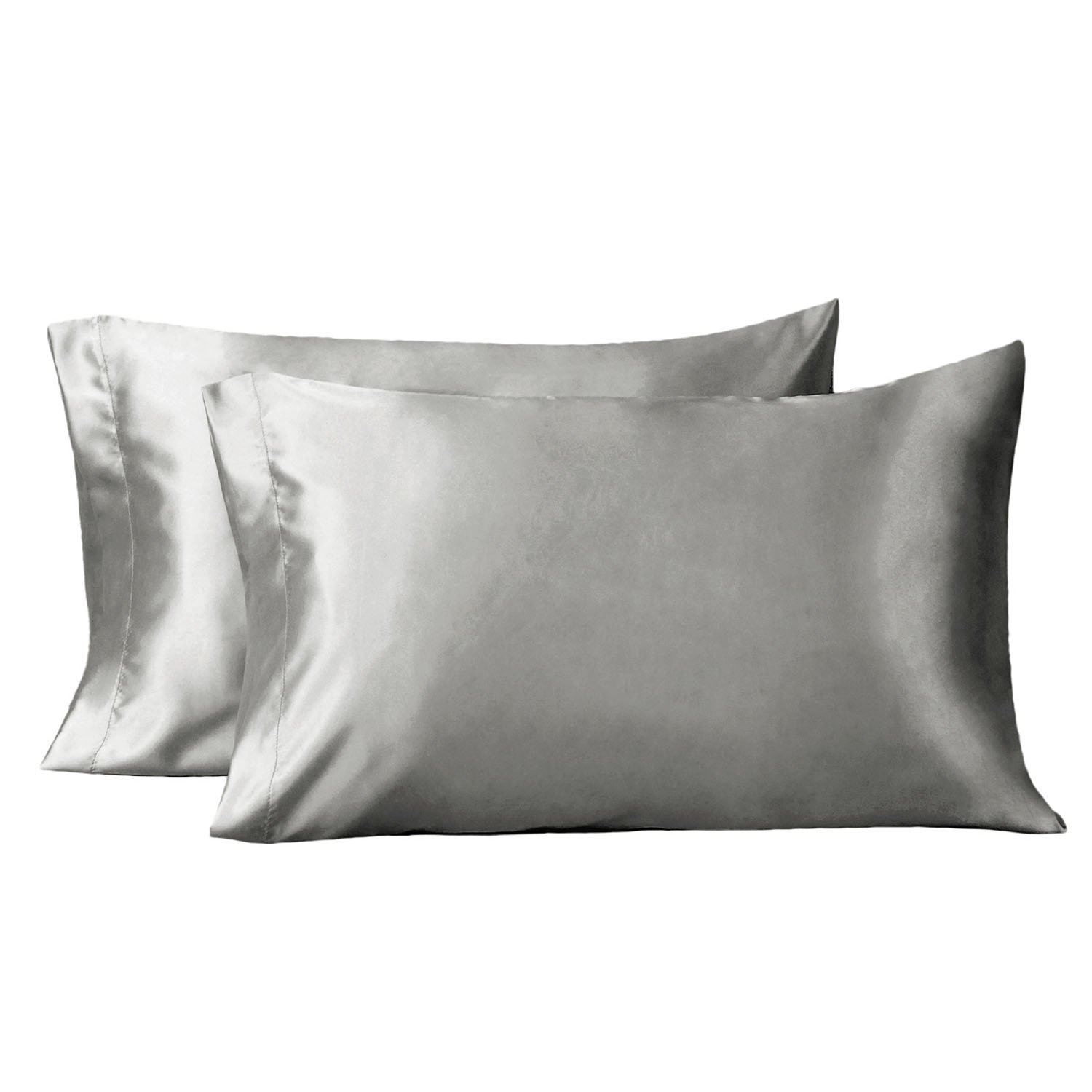 Bedsure Satin Pillowcases Set for Hair -Queen Size Pillowcase Covers with Envelope Closure -Cool and Easy to Wash -Black 20x30 Set of 2 - Only Pillow Cover No Insert Bedshe