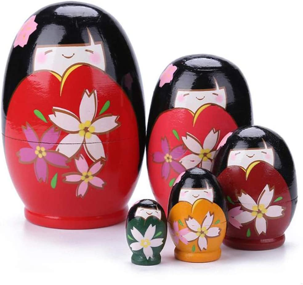 Konrisa Nesting Dolls 5 Piece Japanese Kokeshi Russian Matryoshka Dolls Handmade Stacking Toys Wooden Figurine Dolls for Girls Wedding Gift Home Decoration Party Supplies Christmas Toy