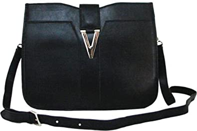 Lush Leather Medium Metal Snap Shoulder Black Crossbody Bag ... d700806e85725