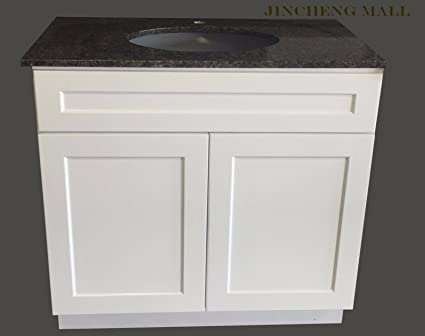 36u0026quot; W X 21u0026quot; D New White Shaker Single Sink Bathroom Vanity Base