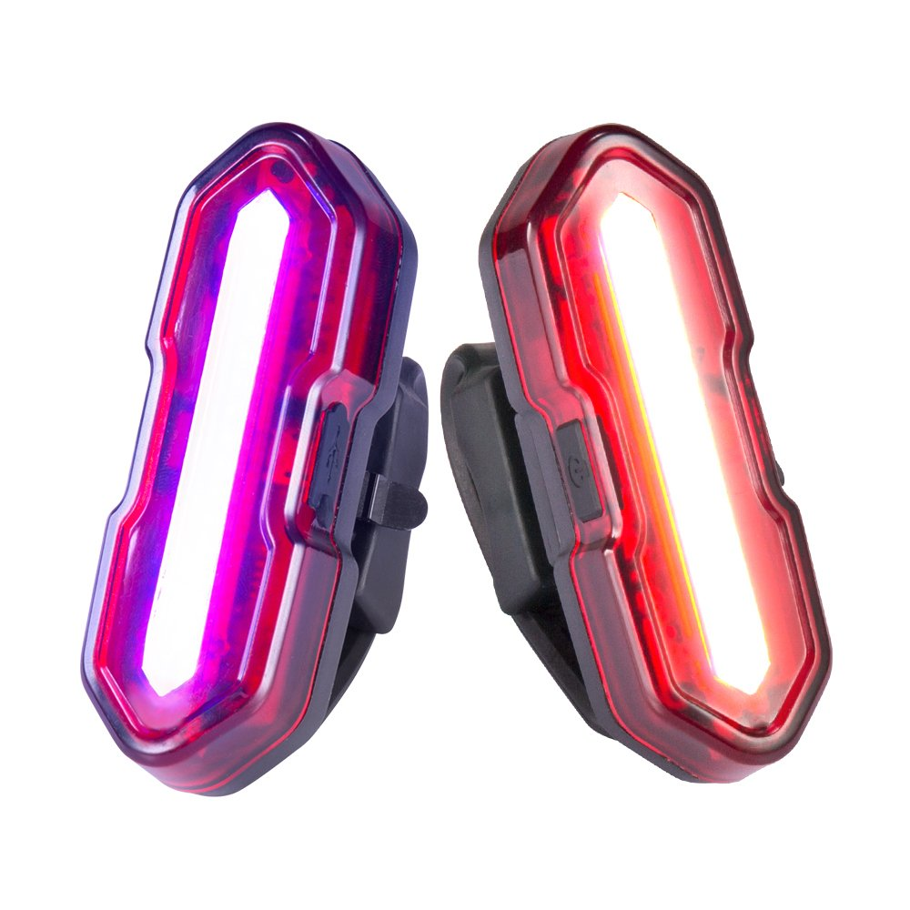 Cycloving 2 Pack Super Bright USB Bicycle Tail Lights, 5 Modes Dual Colors Display IPX4 Water Resistant Bike Rear Lights for Cycling Safety