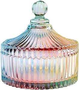 CHOOLD Luxury Colorful Tent Shaped Crystal Candy Jar with Lid,Clear Glass Apothecary Jar Wedding Candy Buffet Jar Food Jar (10oz/24oz)