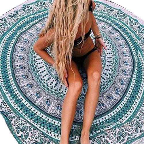 LOVELYIVA Beach Cover Up Bikini Boho Summer Dress Swimwear Bathing Suit Kimono Tunic (Sky Blue 3)